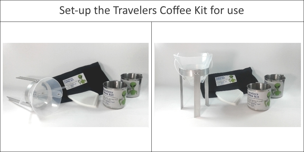 Set up the travelers coffee kit - easy to travel with