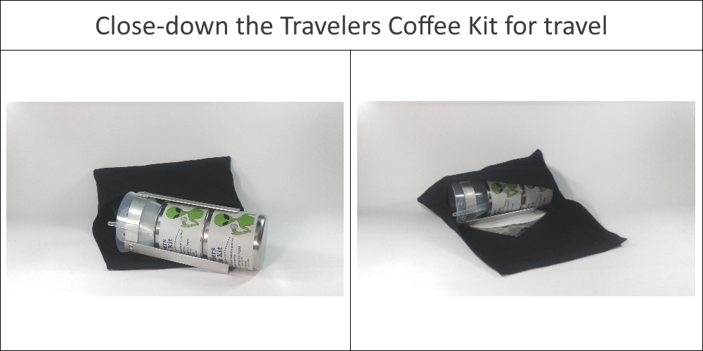 Close down the travelers coffee kit - easy to travel with